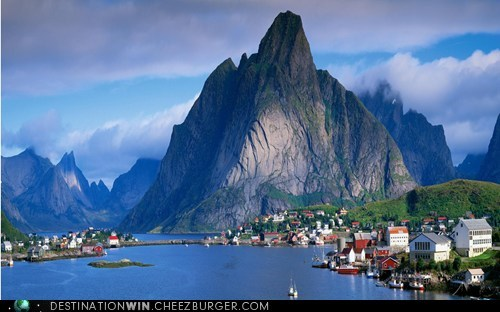 bay,hinterland harbor,mountain,Norway,reine