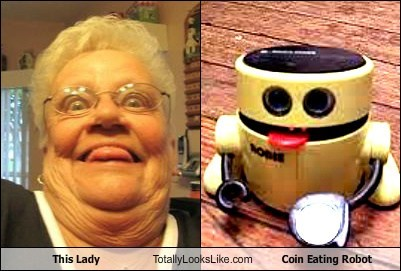 This Lady Totally Looks Like Coin Eating Robot