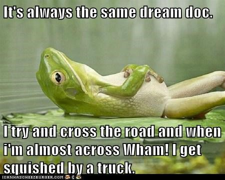 frog,lilypad,dream,therapy,psychiatrist,road,frogger,lying down,truck,crossing the road