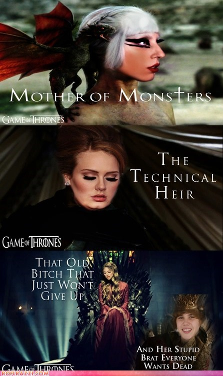 adele,celeb,funny,Game of Thrones,justin bieber,lady gaga,Madonna,Music