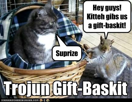 cat squirrel trojan horse basket gift surprise attack
