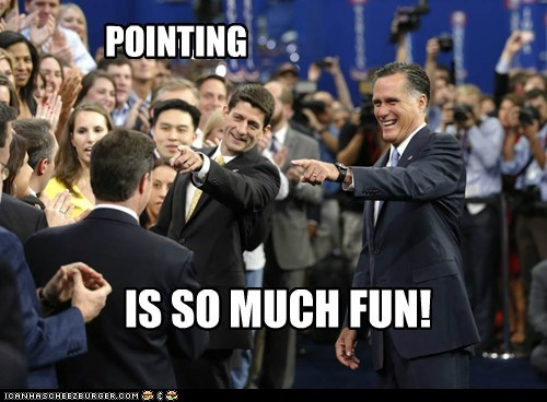 paul ryan Mitt Romney pointing fun crowd