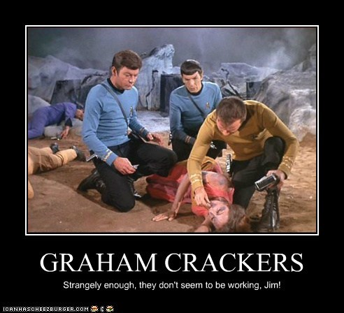 graham crackers,William Shatner,Shatnerday,McCoy,DeForest Kelley,Spock,Leonard Nimoy,strange,not working,dead,Captain Kirk,Star Trek,categoryvoting-page