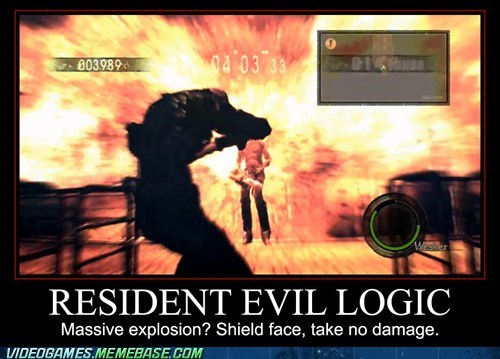 explosion,resident evil,video game logic