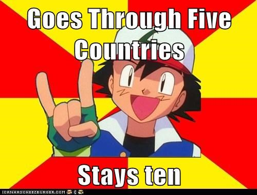 Goes Through Five Countries  Stays ten