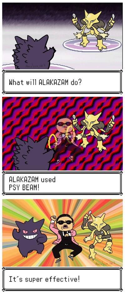alakazam,Battle,comic,gangnam style,gengar,psy