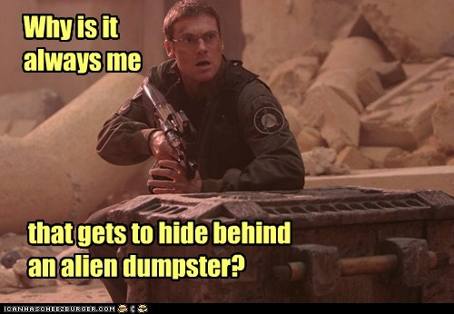 Stargate,Stargate SG-1,why,always,dumpster,hiding,geek,michael shanks,daniel jackson