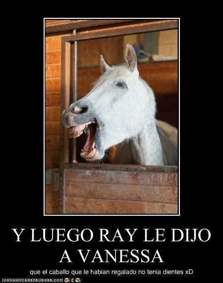 Y LUEGO RAY LE DIJO A VANESSA que el caballo que le habian regalado no tenia dientes xD
