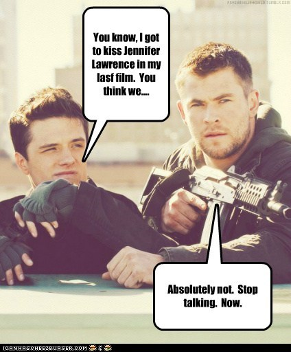 actor,celeb,chris hemsworth,funny,josh hutcherson,Movie,red dawn