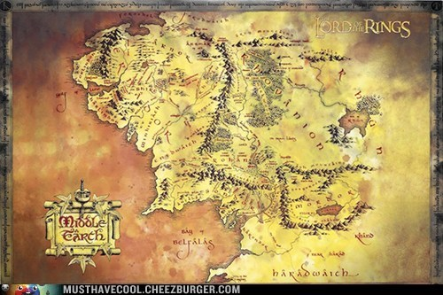 Lord of the Rings,map,middle earth,poster