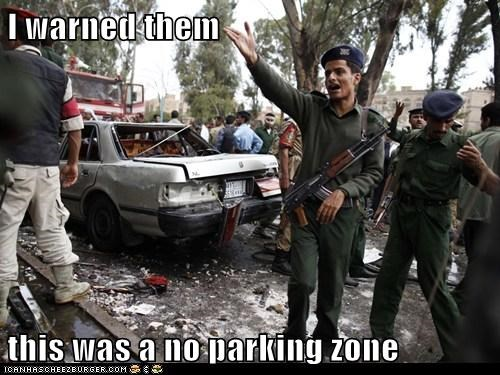 army,blown up,car,no parking,soldier,warned