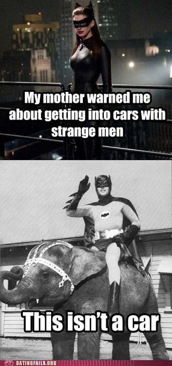 all aboard,batman,cars with strange men,catwoman