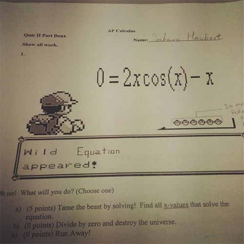 awesome calculus IRL math test