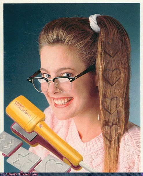 crimping hair hearts retro