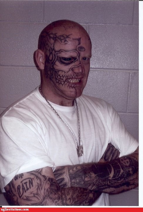 face tattoos,skull