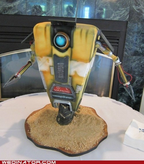 borderlands cake claptrap grooms-cake robot video game
