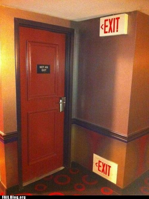 design,door,engineering,exit,genius,irony,sign
