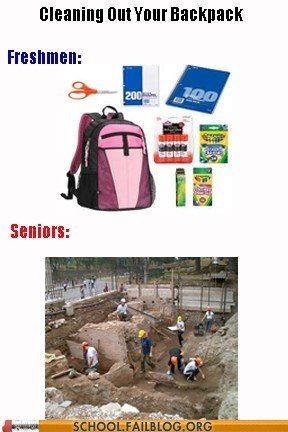 backpacks,cleaning out backpack,excavation,freshmen,seniors