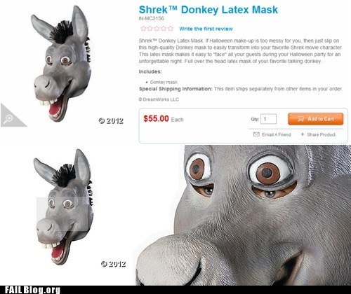 creepy donkey hallloween mask shrek - 6592789248