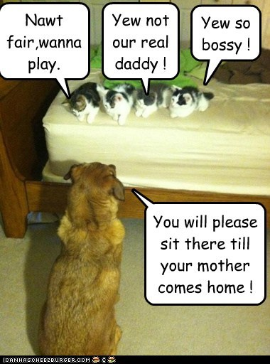 You will please sit there till your mother comes home ! Nawt fair,wanna play. Yew so bossy ! Yew not our real daddy !