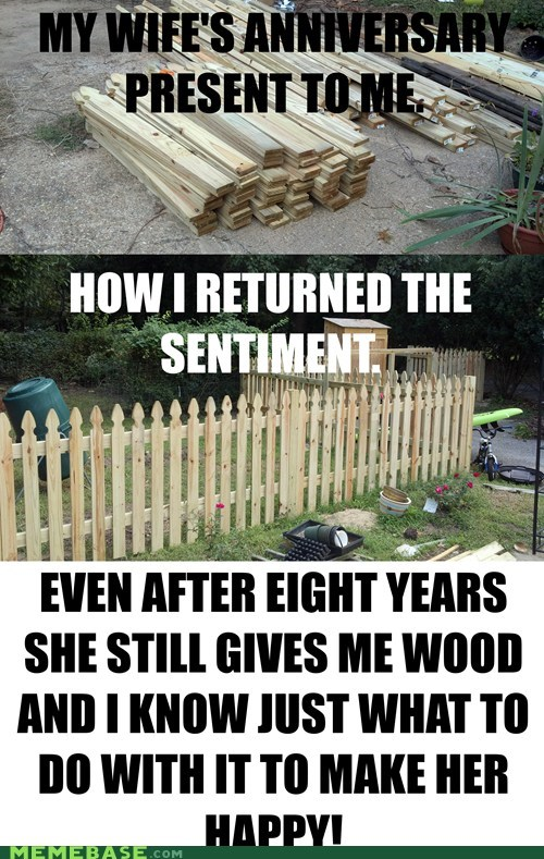 fence,life,love,marriage,puns,wood