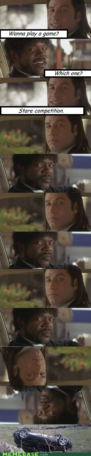 actor,car accident,celeb,john travolta,Movie,pulp fiction,Samuel L Jackson,stare contest