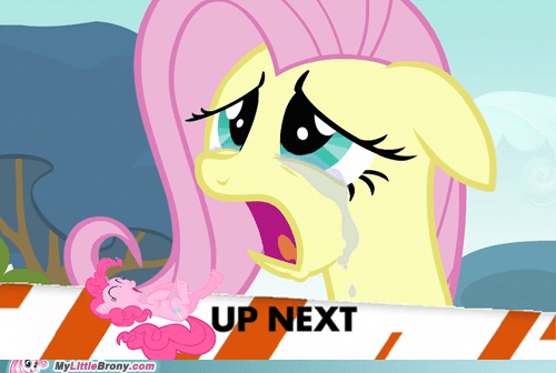 fluttercry fluttershy laugh pinkie pie up next - 6594082304