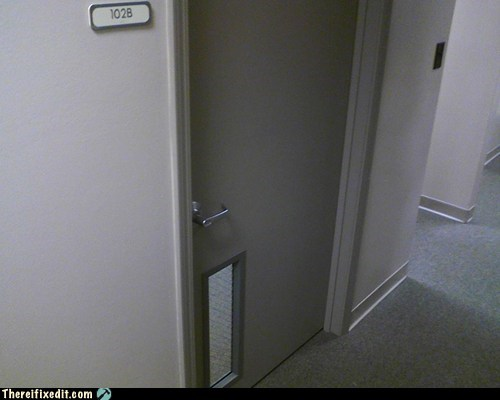 discrimination,door,midgets,upside down,upside down door