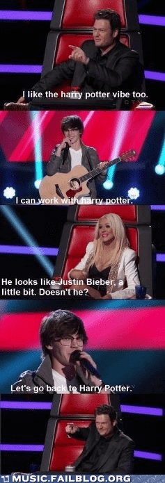 christina aguilera,Harry Potter,justin bieber,the voice