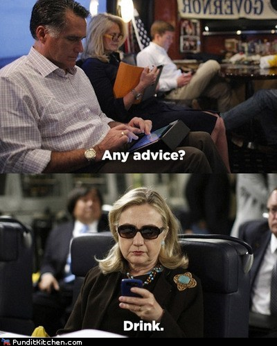 advice drink Hillary Clinton Mitt Romney texting