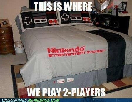 2-players,bed,IRL,NES,nintendo,smexy times
