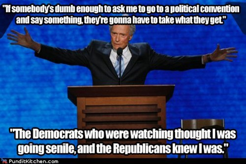 Clint Eastwood,interview,rnc,senile,speech,trolling