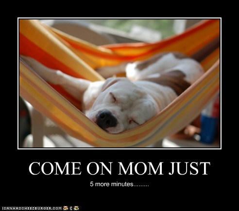 COME ON MOM JUST 5 more minutes.........