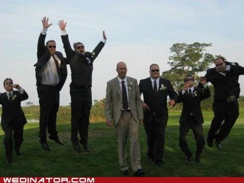 goofy groom Groomsmen jump silly - 6594411264