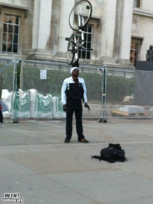 balance,bike,street performer
