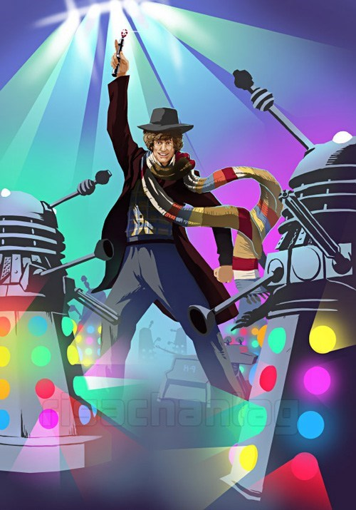 daleks,doctor who,i will survive,lights,the doctor,tom baker