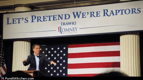 event,fundraising,Mitt Romney,pretend,raptors,rawr