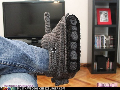 Knitted,slippers,tank,vehicle