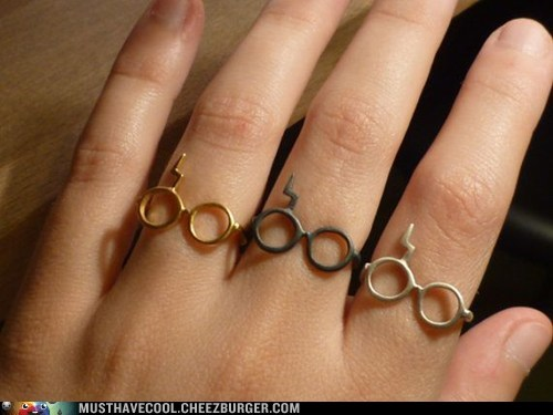 glasses Harry Potter Jewelry metal rings scar - 6594671872