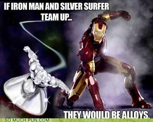allies,alloys,iron man,marvel,silver surfer,similar sounding