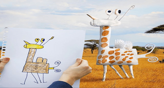 dad turns kid's drawings into real life animals