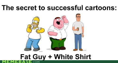 cartoons,family guy,fat,King of the hill,shirts,the simpsons,white