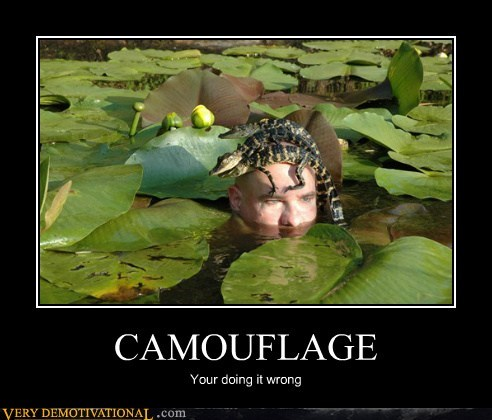 aligator,camouflage,doing it wrong