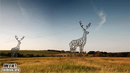 art,deer,design,power line