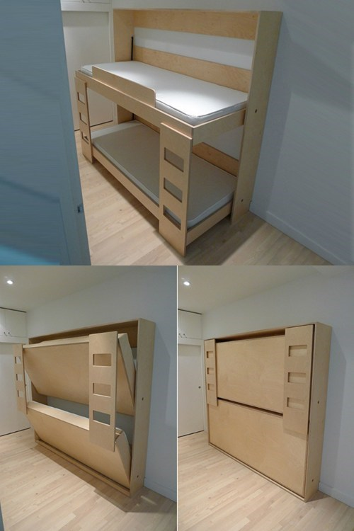 bed bunk bed design folding furniture hidden - 6596228352