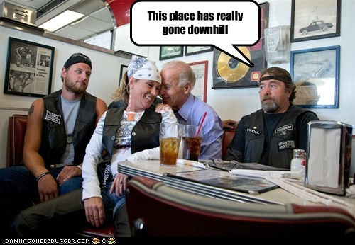 Awkward bikers cafe downhill groping joe biden uneasy