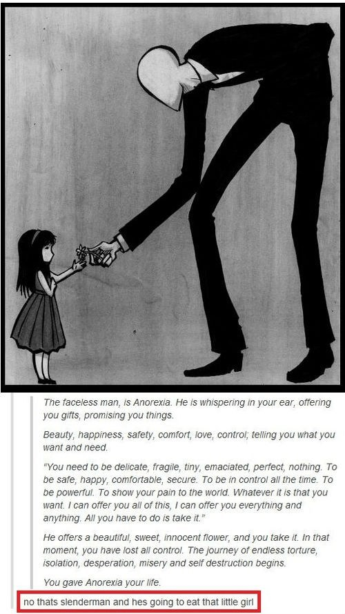 anorexia eat Flower girl slenderman