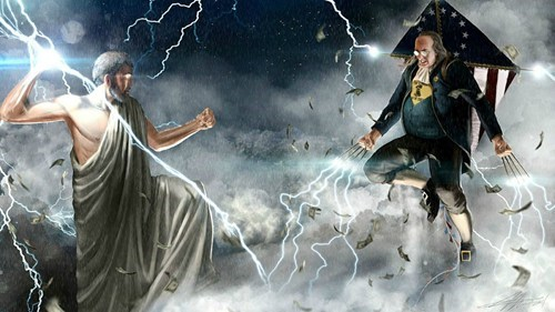ben,Benjamin Franklin,kite,lightning,this really happened,thunderdome,wolverine,Zeus