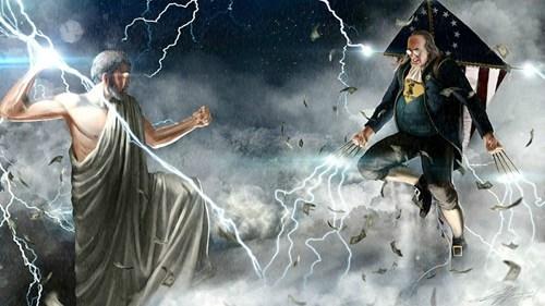 ben Benjamin Franklin kite lightning this really happened thunderdome wolverine Zeus - 6596874240