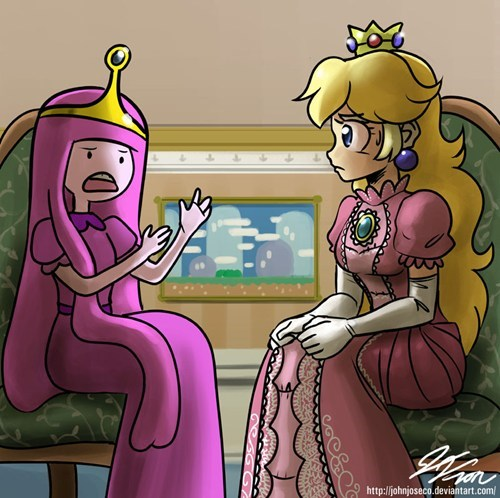 adventure time,cartoons,crossover,princess bubblegum,princess peach,Super Mario bros,video games